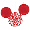 RED PAPER FANS (18/CS) PARTY SUPPLIES