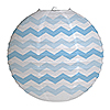 LT BLUE CHEVRON LANTERN (12/CS) PARTY SUPPLIES