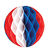 RED-WHITE-BLUE HONEYCOMB TISSUE BALL 12