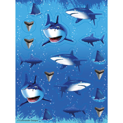Click for larger picture of SHARK SPLASH VALUE STICKERS PARTY SUPPLIES