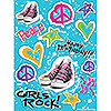 DISCONTINUED GIRLS ROCK 80'S STICKERS PARTY SUPPLIES