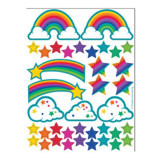 RAINBOW PARTY VALUE STICKER PARTY SUPPLIES