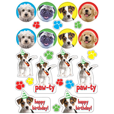 Click for larger picture of DISCONTINUED PAW-TY TIME! VALUE STICKERS PARTY SUPPLIES