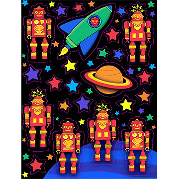 Click for larger picture of DISCONTINUED PARTY 'BOTS VALUE STICKERS PARTY SUPPLIES