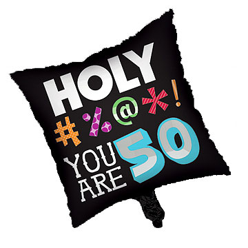 Click for larger picture of HOLY BLEEP - 50TH FOIL BALLOON SQ PARTY SUPPLIES