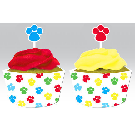 Click for larger picture of PAW-TY TIME! CUPCAKE PICK/WRAPPER PARTY SUPPLIES