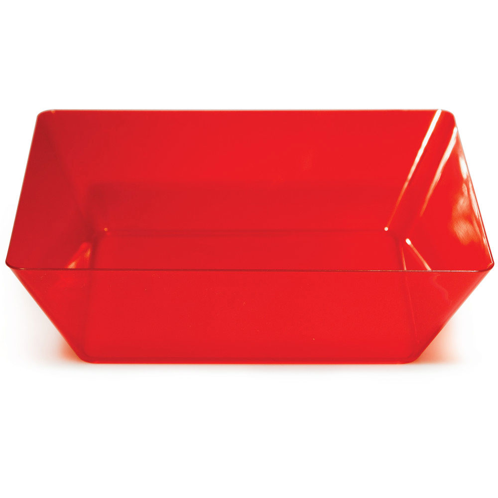 Click for larger picture of RED 11 IN. PLASTIC SQUARE BOWL(6/CS) PARTY SUPPLIES