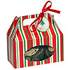 RED & GREEN STRIPED HANDLED COOKIE BOX PARTY SUPPLIES