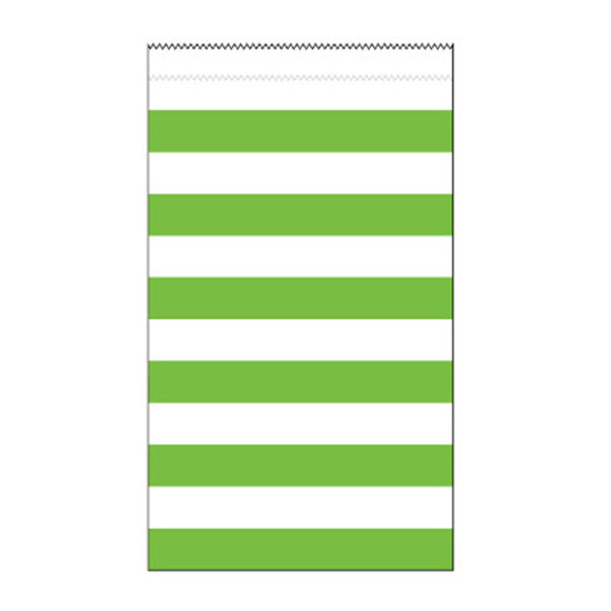 LIME STRIPE MEDIUM PAPER BAG (180/CS) PARTY SUPPLIES