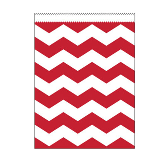 RED CHEVRON LARGE PAPER BAG PARTY SUPPLIES