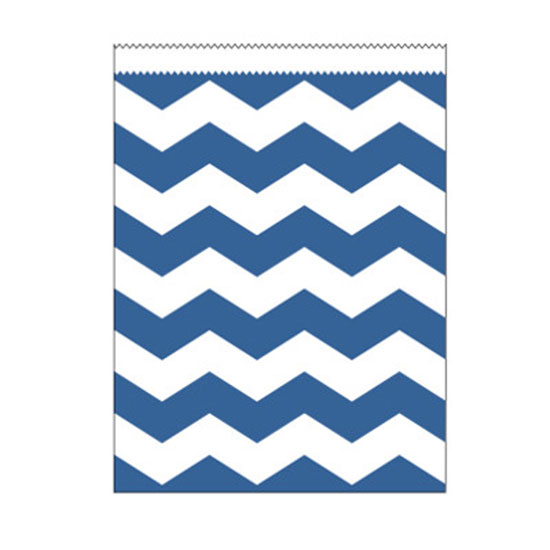 ROYAL BLUE CHEVRON LG PAPER BAG PARTY SUPPLIES