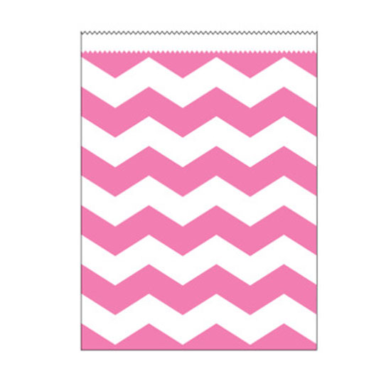 PINK STRIPE LARGE PAPER BAG PARTY SUPPLIES