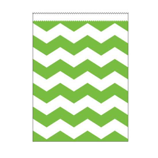 LIME CHEVRON LARGE PAPER BAG PARTY SUPPLIES
