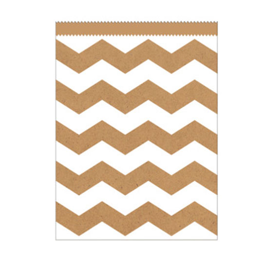 KRAFT CHEVRON LG PAPER BAG PARTY SUPPLIES