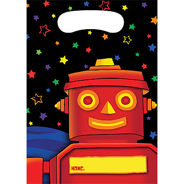 Click for larger picture of DISCONTINUED PARTY 'BOTS TREAT BAG PARTY SUPPLIES