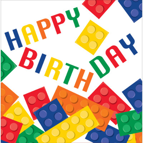 BLOCK PARTY HAPPY BIRTHDAY LUNCH NAPKIN PARTY SUPPLIES