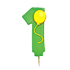 NUMBER 1 BALLOON CANDLE (6/CS) PARTY SUPPLIES