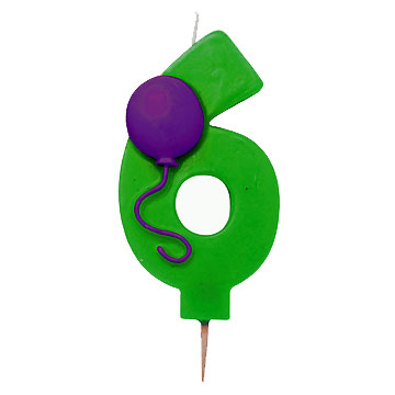 Click for larger picture of #6 CANDLE NUMERAL BALLOON 6 PARTY SUPPLIES