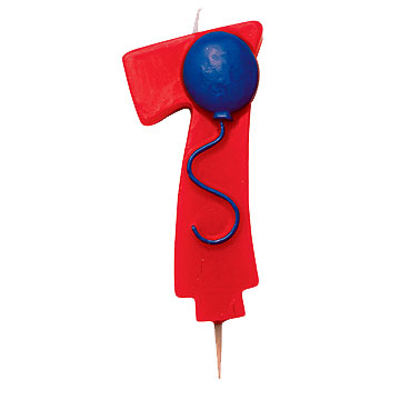 Click for larger picture of NUMBER 7 BALLOON CANDLE (6/CS) PARTY SUPPLIES