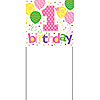 1ST BIRTHDAY GIRL YARD BANNER (6/CS) PARTY SUPPLIES