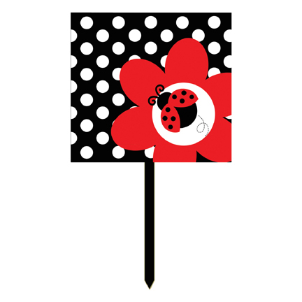 Click for larger picture of DISCONTINUED LADYBUG FANCY YARD SIGN PARTY SUPPLIES