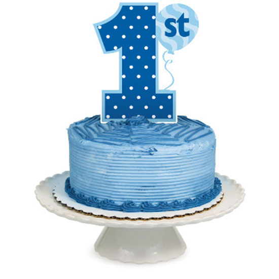 1ST BIRTHDAY BOY CAKE TOPPER (12/CS) PARTY SUPPLIES
