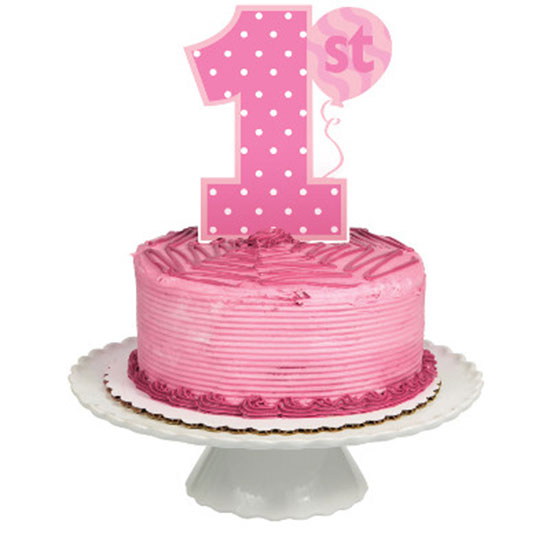 1ST BIRTHDAY GIRL CAKE TOPPER (12/CS) PARTY SUPPLIES