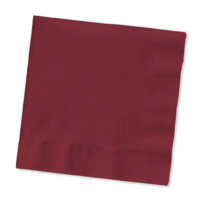 Click for larger picture of BURGUNDY 2 PLY BEVERAGE NAPKIN (600/CS) PARTY SUPPLIES