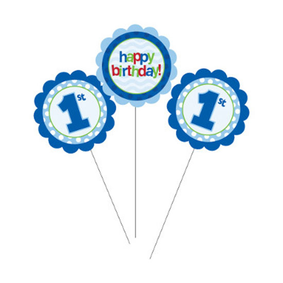 1ST BDAY BOY CENTERPIECE STICKS (18/CS) PARTY SUPPLIES