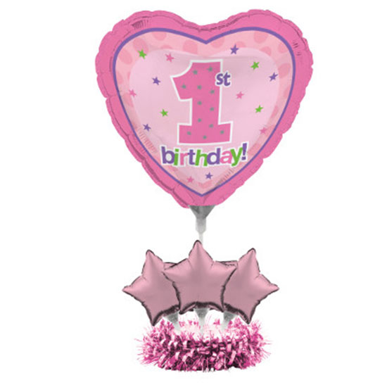 1ST BDAY GIRL BALLOON CENTRPCE KIT(4/CS) PARTY SUPPLIES