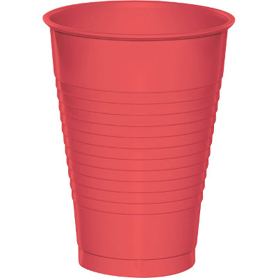12 OZ. CORAL PLASTIC CUP (20 CT.) PARTY SUPPLIES