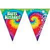 DISCONTINUED TIE DYE FUN FLAG BANNER PARTY SUPPLIES