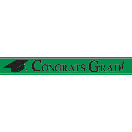 Click for larger picture of CONGRATS FOIL BANNER- GREEN (12/CS) PARTY SUPPLIES