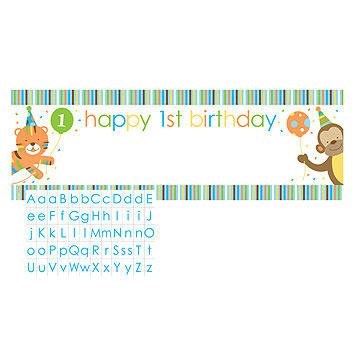 Click for larger picture of DISCONTINUED SWEET AT ONE BOY BANNER PARTY SUPPLIES