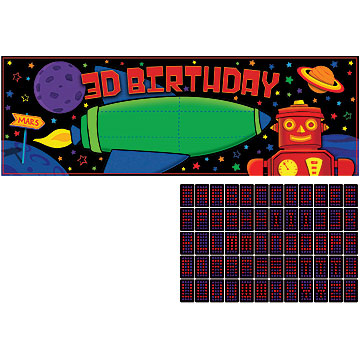 Click for larger picture of DISCONTINUED PARTY 'BOTS GIANT BANNER PARTY SUPPLIES