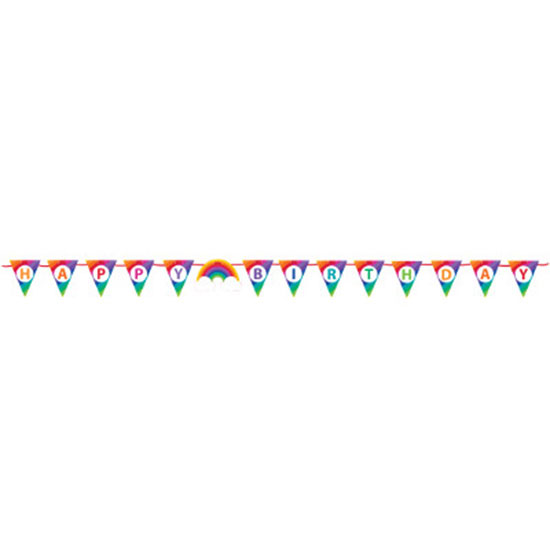 RAINBOW PARTY RIBBON BANNER PARTY SUPPLIES