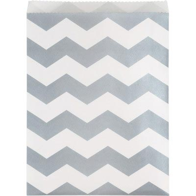SILVER CHEVRONS PPR TRT BAG LG (120/CS) PARTY SUPPLIES