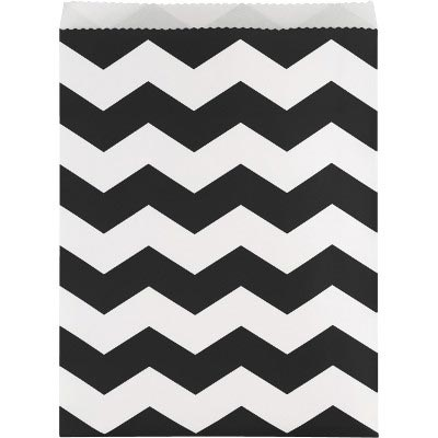 BLACK CHEVRONS PAPER TREAT BAG LARGE (12 PARTY SUPPLIES