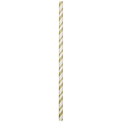 GOLD-WHITE PAPER STRAWS (144/CS) PARTY SUPPLIES
