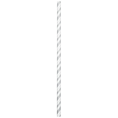 SILVER-WHITE PAPER STRAWS (144/CS) PARTY SUPPLIES