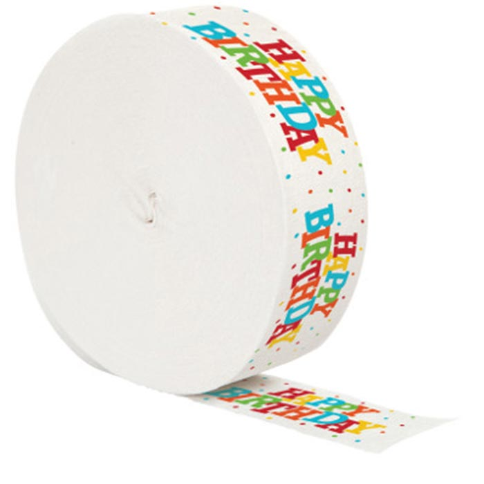 printed crepe streamers party supplies happy birthday crepe streamer