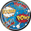 SUPERHERO SLOGANS DINNER PLATE PARTY SUPPLIES