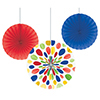 MULTICOLOR FANS-PAPER (18/CS) PARTY SUPPLIES