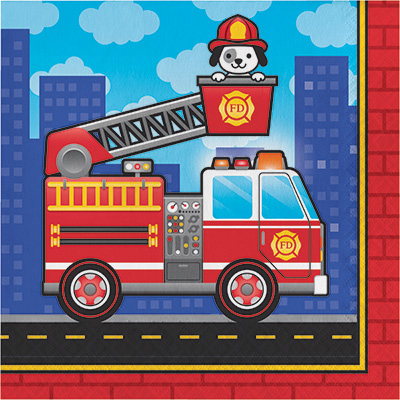 Click for larger picture of FLAMING FIRE TRUCK LUNCHEON NAPKIN PARTY SUPPLIES