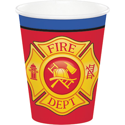 Click for larger picture of FLAMING FIRE TRUCK HOT-COLD CUPS (96/CS) PARTY SUPPLIES