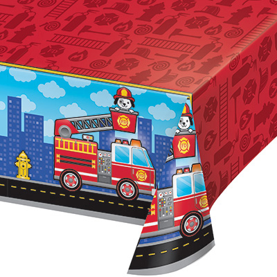 Click for larger picture of FLAMING FIRE TRUCK TABLECOVER PARTY SUPPLIES