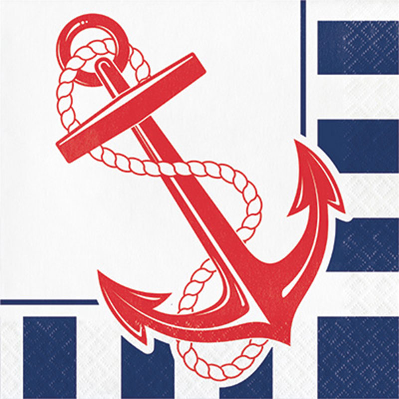 Click for larger picture of NAUTICAL ANCHOR NAPKIN LUNCH PARTY SUPPLIES