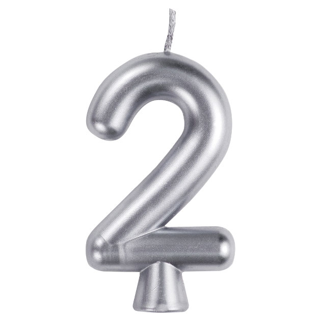 Click for larger picture of 2 SILVER CANDLE (12/CS) PARTY SUPPLIES