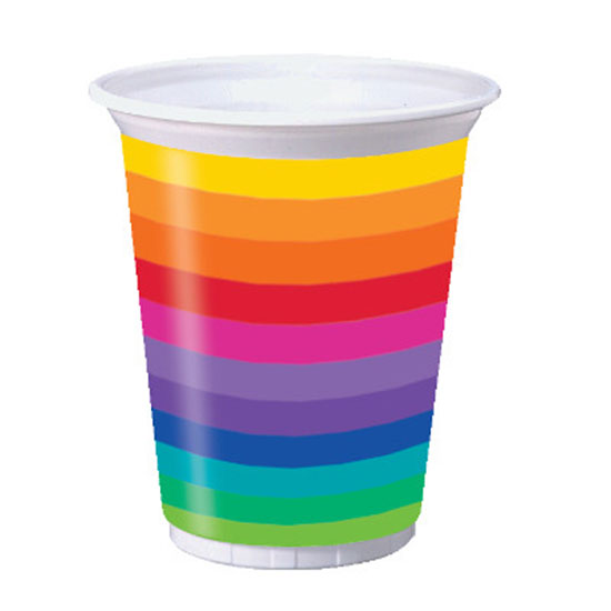 RAINBOW PARTY 16 OZ PLASTIC CUP PARTY SUPPLIES