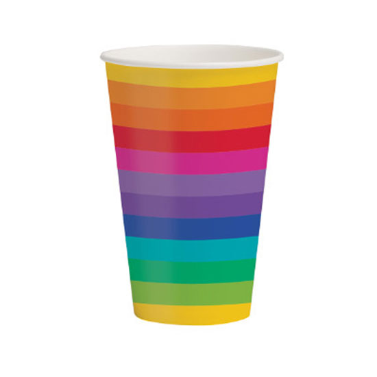 RAINBOW PARTY 12 OZ HOT-COLD CUPS PARTY SUPPLIES